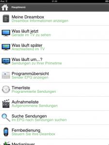 DAC fürs iPad (Hauptmenü)