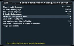 Einstellungen des Subs-Downloader