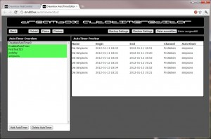 AutoTimer Webinterface - Übersicht