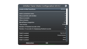 Einstellungsmöglichkeiten von InfoBarTunerState