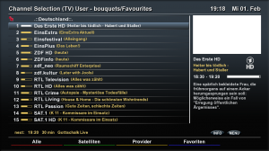 Kanalauswahl in der Merlin-Version des Elgato-HD