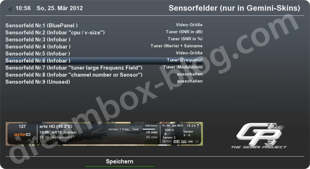 Neue Werte für die Sensorfelder im Gemini3
