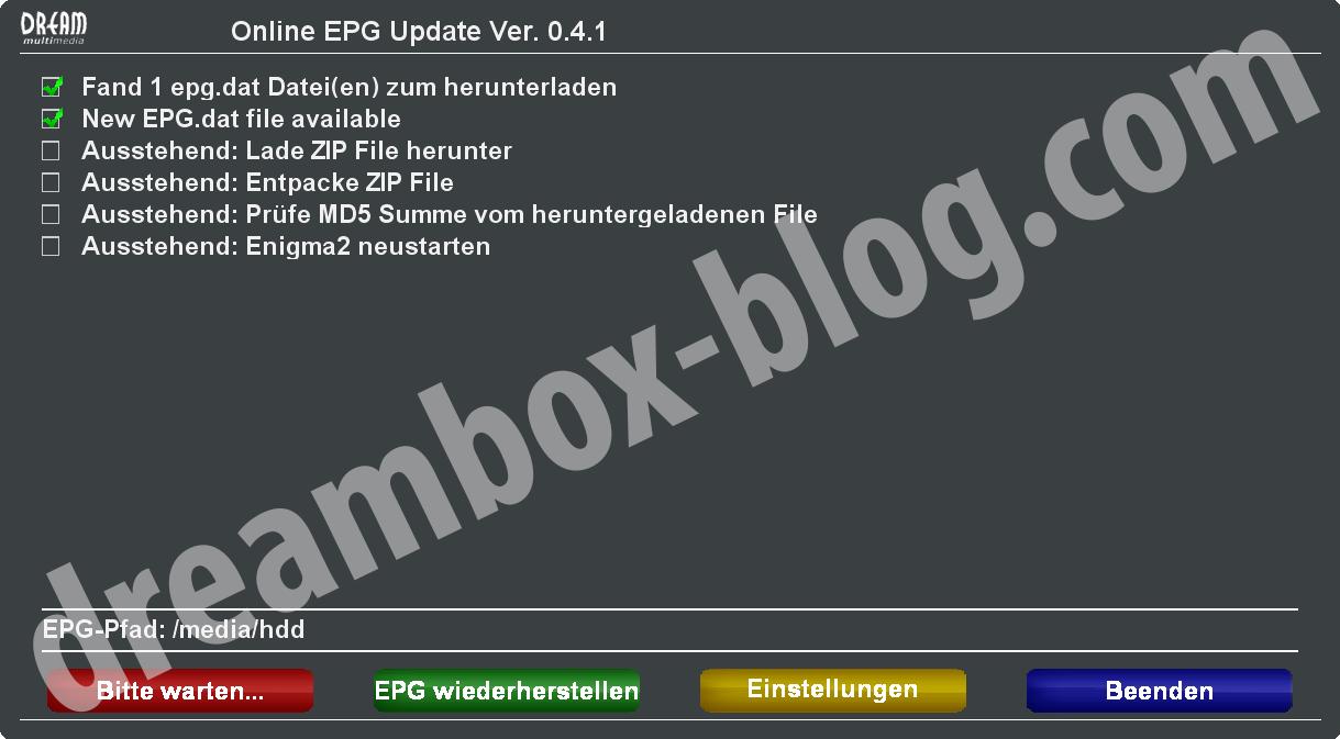 EPG Update und Restore