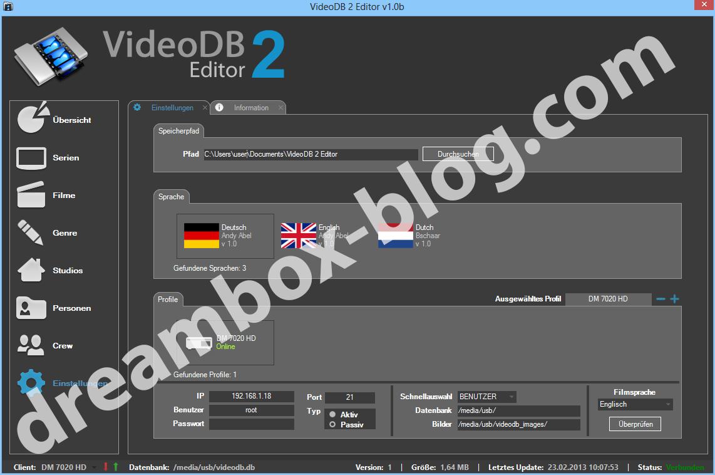 videodb2-editor einstellungen