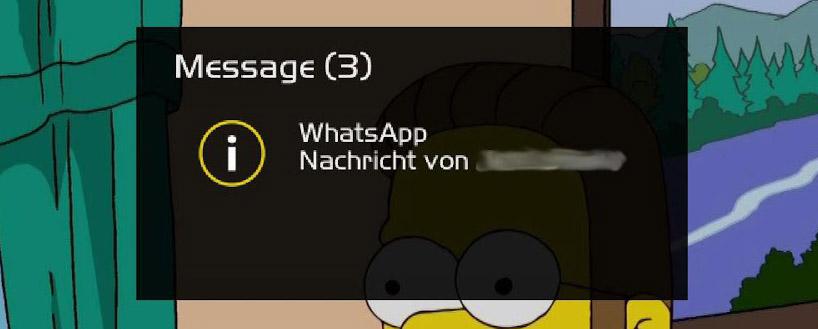 Enigma2-Notifier zeigt eine WhatsApp-Benachrichtigung auf dem Fernseher an (Bild von appminent aus dem Google Play Store)
