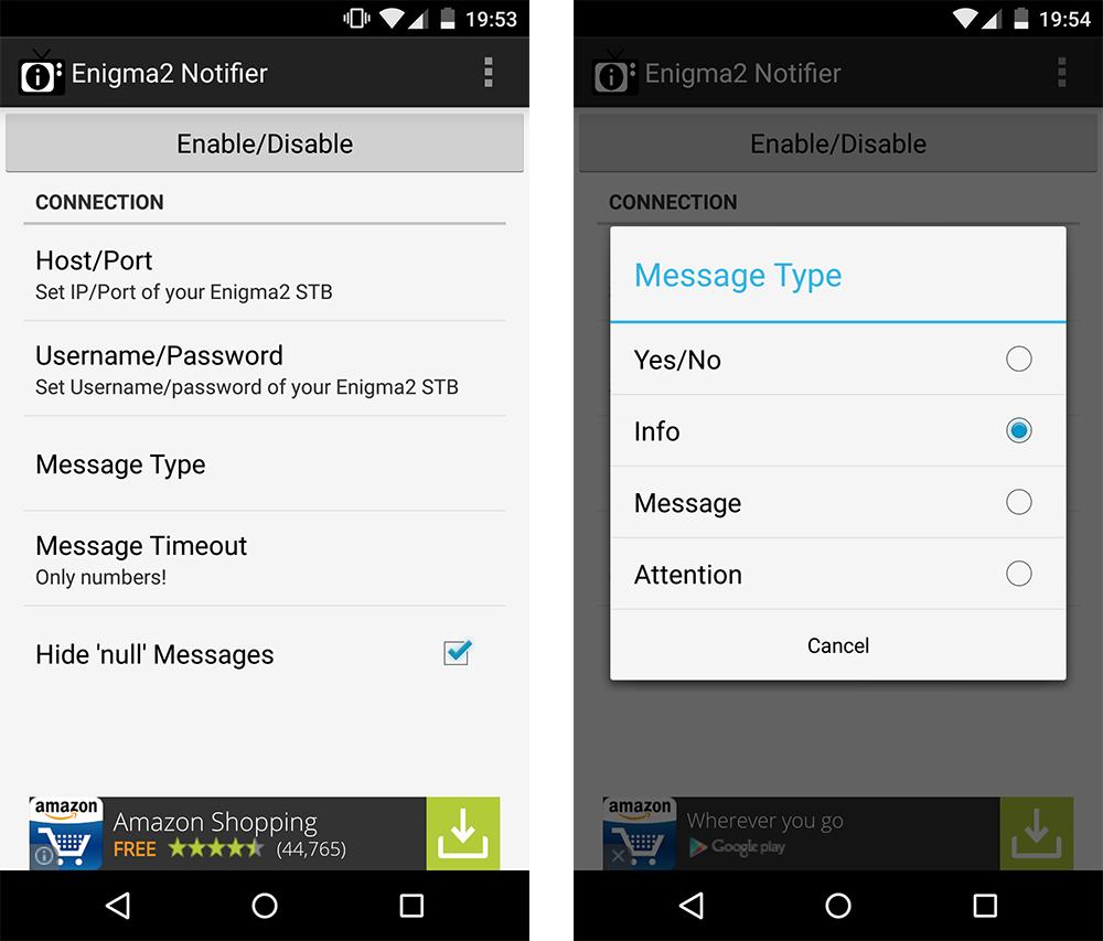 """Enigma2-Notifier für Android: Startbildschirm (links) und Konfiguration des """"Message Type"""" (rechts)."""