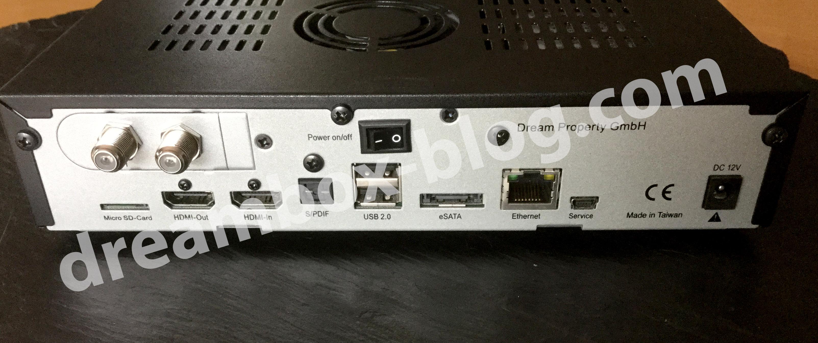Dreambox 820HD mit dem eingebauten Dual-DVB-S2-Tuner.
