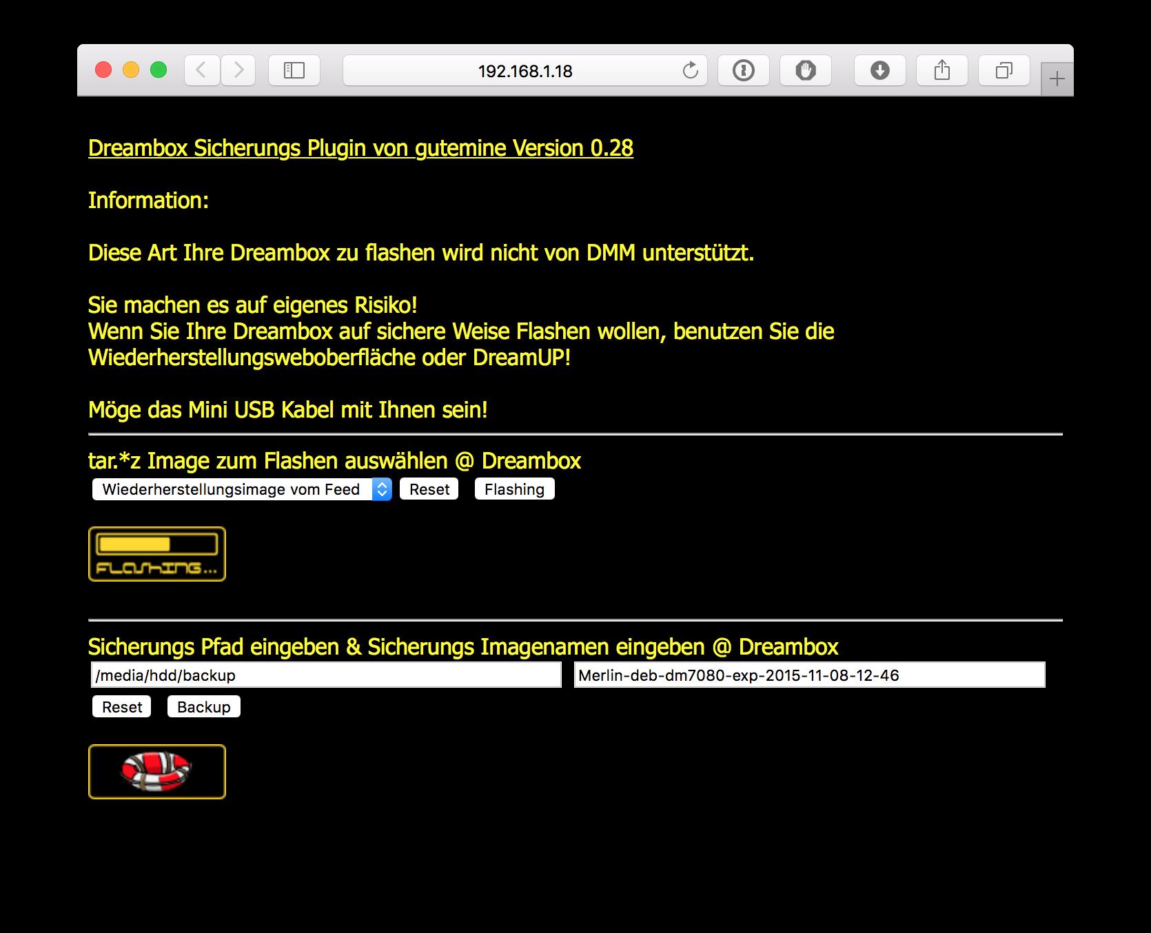 dbackup webinterface