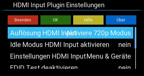 Einstellungsmöglichkeiten des HDMI-In-Plugins.