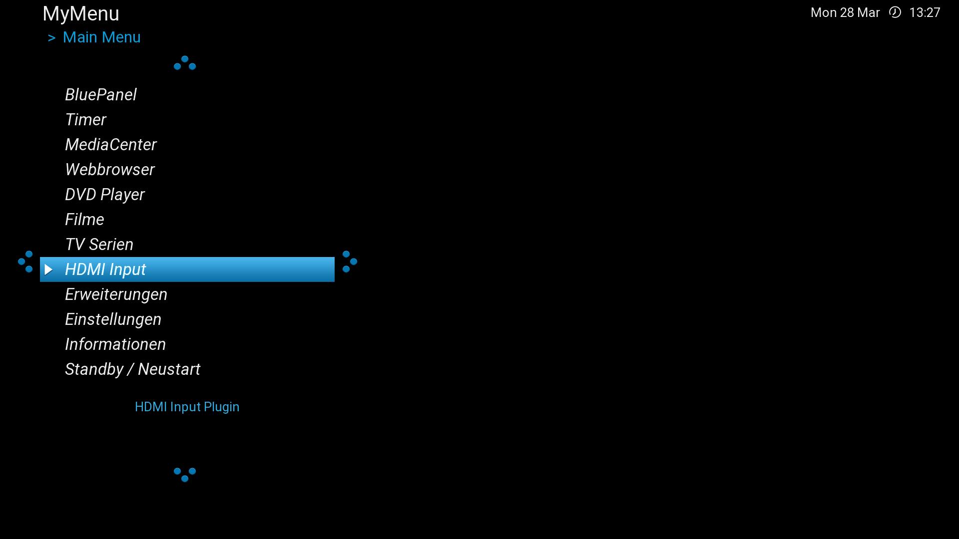 HDMI-In-Plugin im Hauptmenü aktiviert.