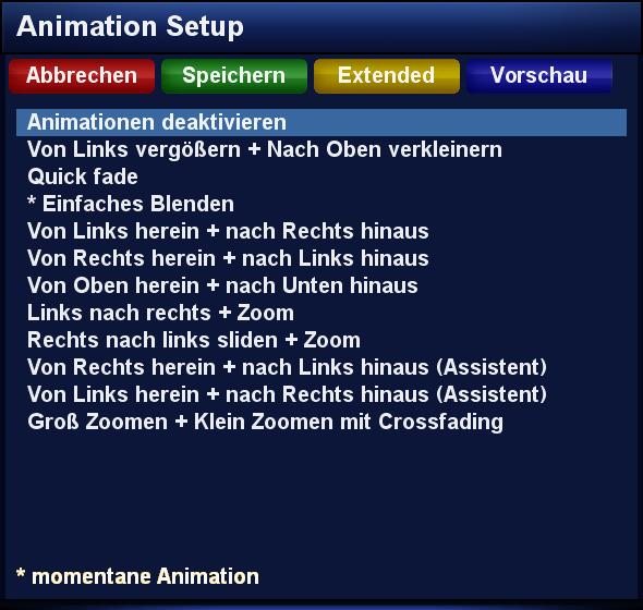 Einstellungsmenü für Animationen im DreamOS