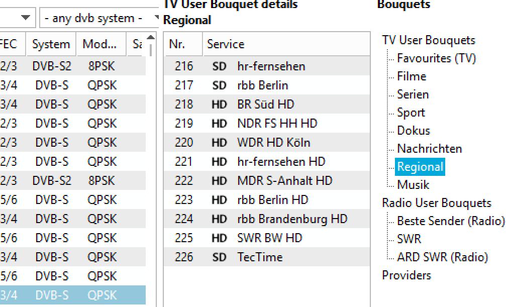 Klein Symbole vor den Sendernamen helfen, schnell und einfach zwischen UHD, HD und SD zu unterscheiden.