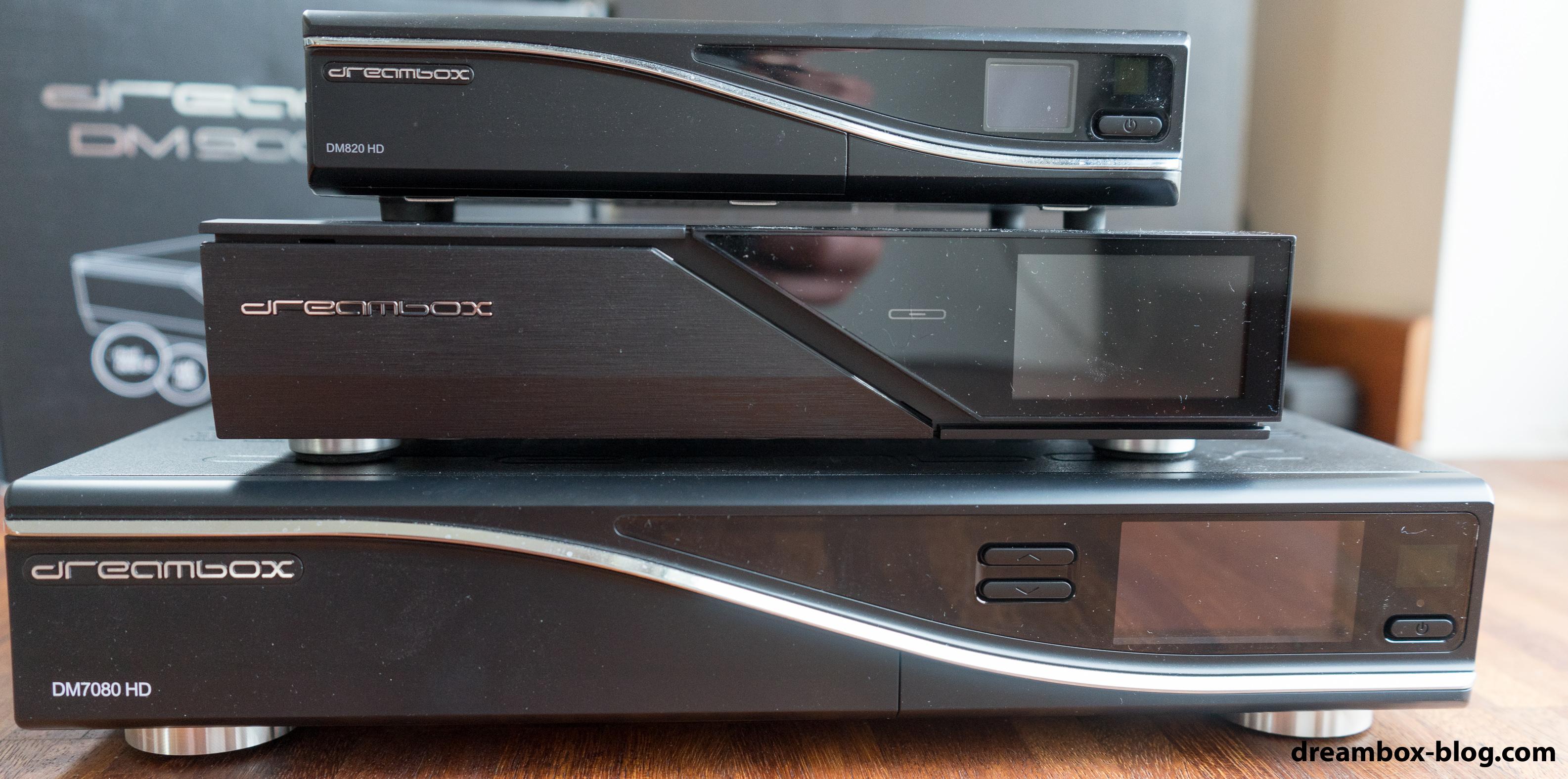DM820 HD (oben), DM900 UHD (mitte) und DM7080 (unten).